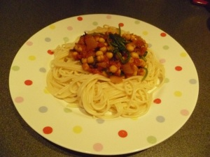 Tomato, Spinach and Chickpea Spaghetti