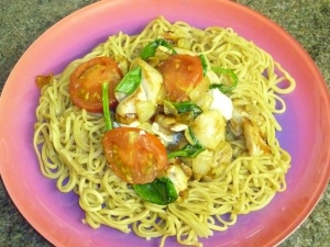 Spicy Chicken and Feta Noodles